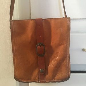 Handbags - Leather satchel purse tan